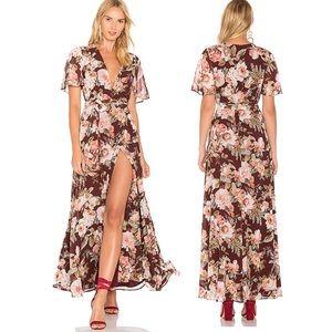 PrivacyPlease Dark Sienna Floral Kimono Wrap Dress